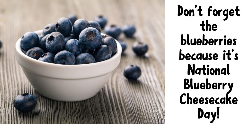 Pin with a bowl of blueberries at the left and the title of the post at the right in black letters.